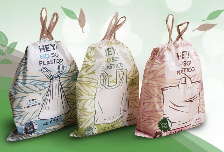 Bolsas compostables; hechas de maíz y son biodegradable